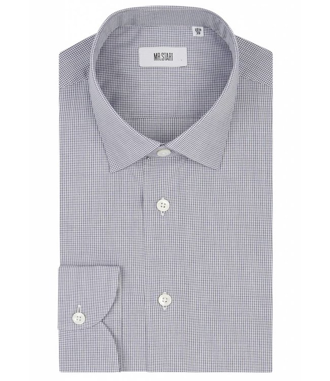 The Drake Shirt in Blue Micro Check