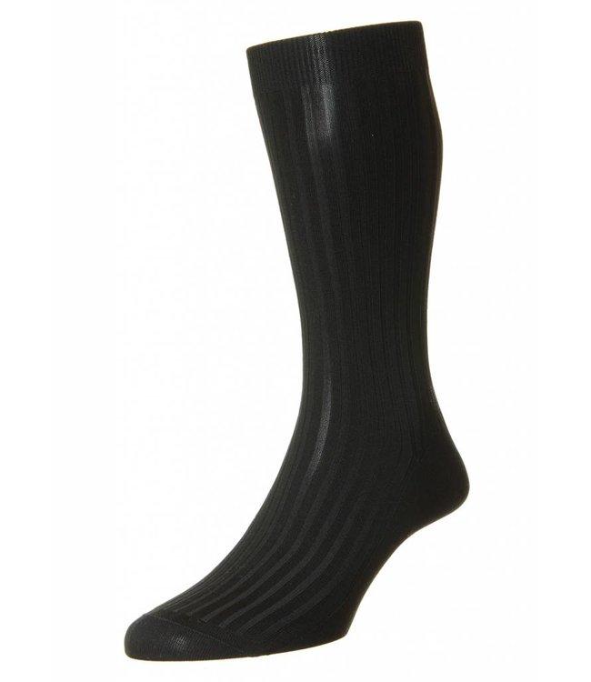 Pantherella  Fine Ribbed Socks in Black