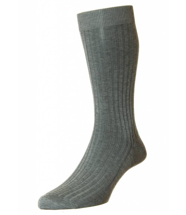 Pantherella Classic Fine Ribbed Socks in Mid Grey Mix