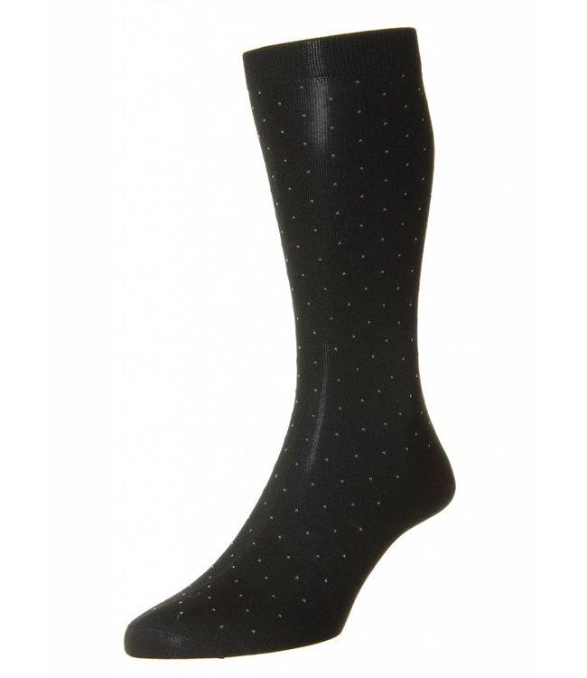 Pantherella Gadsbury Pin Dot Socks in Black/Grey