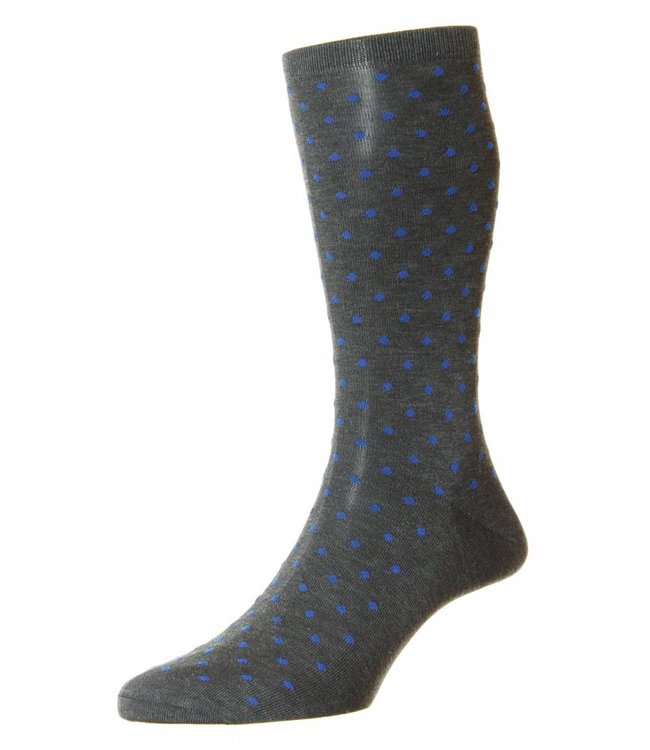 Pantherella Streatham Spotted Socks in Grey/Blue
