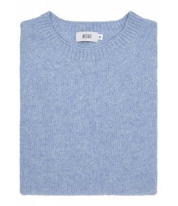 The Rannoch Cashmere & Merino Wool Crew Neck in Jeans Blue