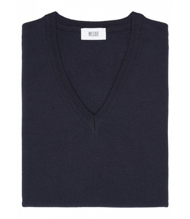 Superfine Knit Merino Wool V-Neck Sweater in Navy Blue