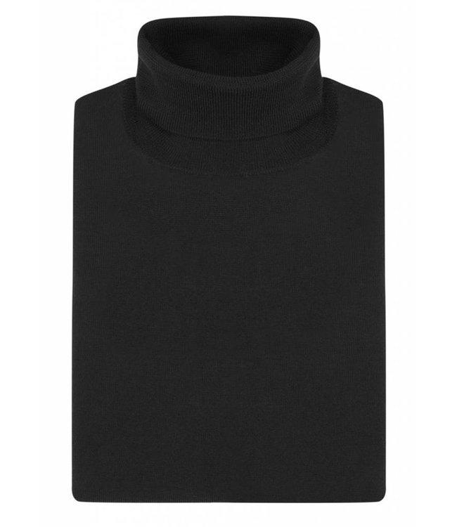 Superfine Merino Wool Roll Neck Sweater in Classic Black