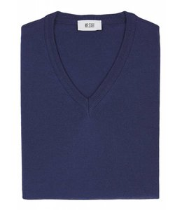 Superfine Knit Merino Wool V-Neck Sweater in Mid Blue