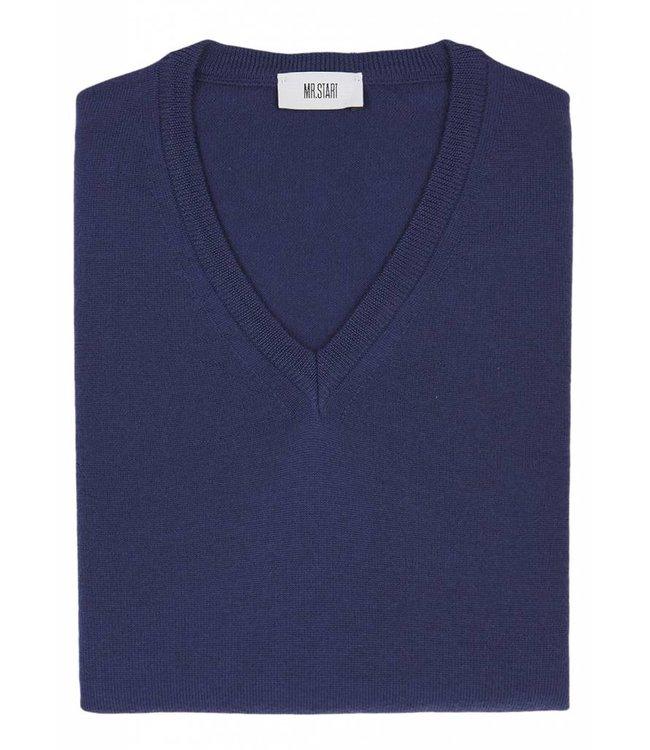 Superfine Knit Merino Wool V-Neck Sweater in Mid Blue