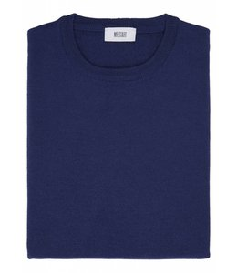 Superfine Knit Merino Wool Crew Sweater in Mid Blue