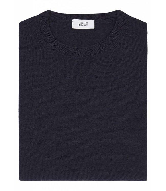 Superfine Knit Merino Wool Crew Sweater in Navy Blue