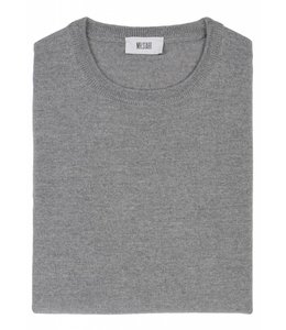Superfine Knit Merino Wool Crew Sweater in Light Grey