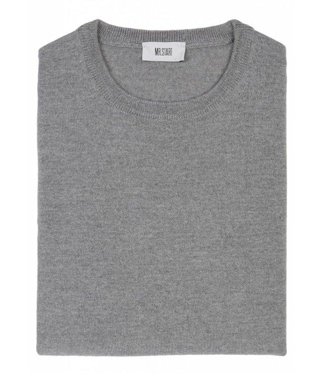 Superfine Knit Merino Wool Crew Sweater in Light Grey