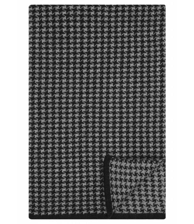 Merino Wool Houndstooth Scarf in Black/Silver