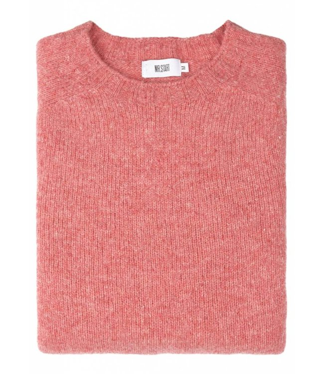 The Lomond Pure Shetland Wool Crew Neck Sweater in Rosebud