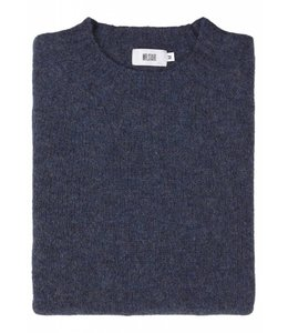 The Lomond Pure Shetland Wool Crew Neck Sweater in Denim Blue