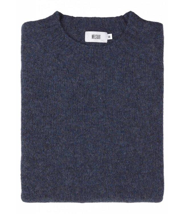 The Lomond Pure Shetland Wool Crew Neck Sweater in Denim Blue