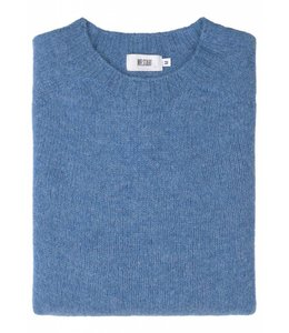 The Lomond Pure Shetland Wool Crew Neck Sweater in Fresh Surf