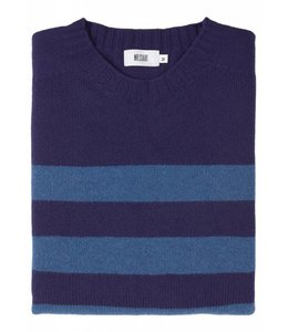 The Kilbirnie Geelong Lambswool Sweater in Navy & Mid Blue Stripe