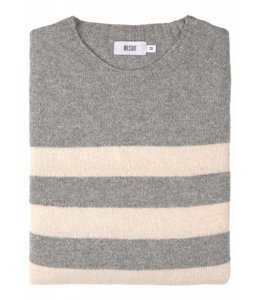The Kilbirnie Geelong Lambswool Sweater in Grey & Almond Stripe