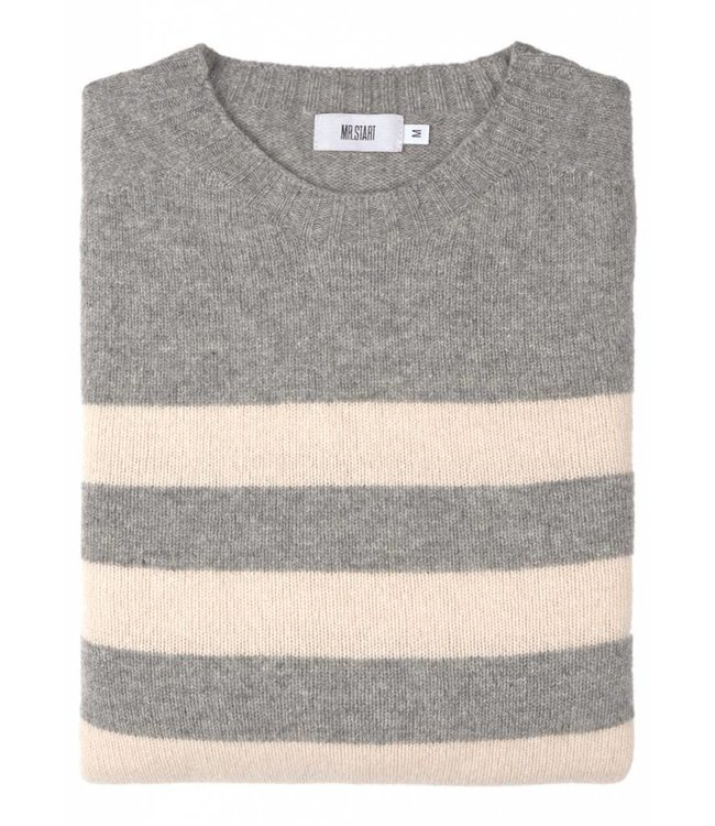 The Kilbirnie Geelong Lambswool Sweater in Grey & Almond Stripe