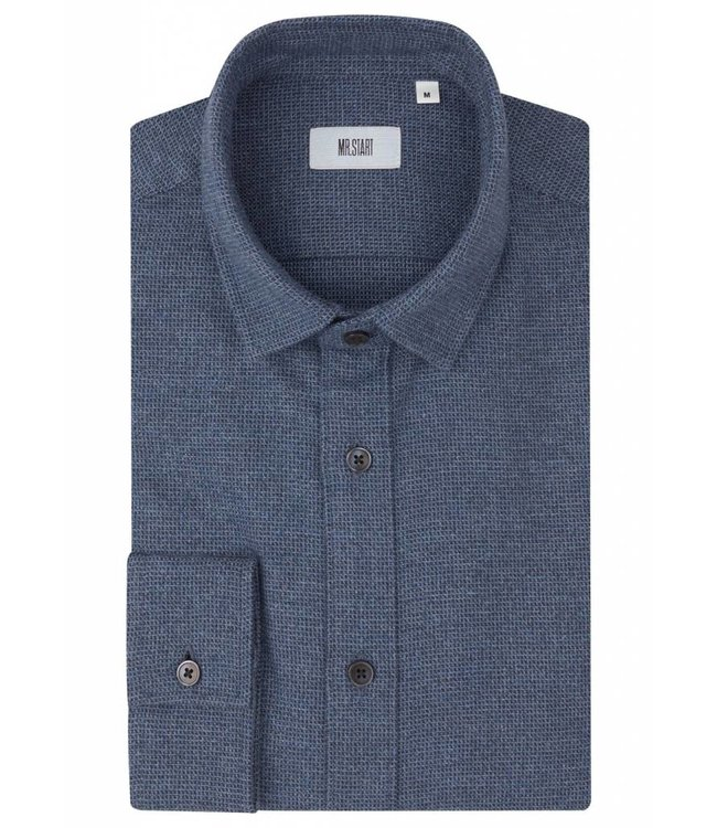 The Truman Super Soft Brushed Flannel Shirt in Blue Micro Dogtooth