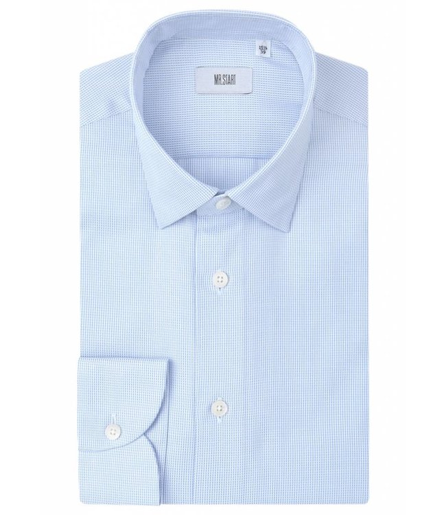 The Drake Superior Double Fold Textured Cotton Shirt in Tapestry Blue