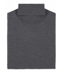 Superfine Knit Merino Wool Roll Neck Sweater in Grey