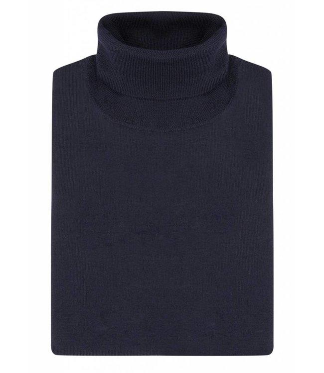 Superfine Knit Merino Wool Roll Neck Sweater in Navy