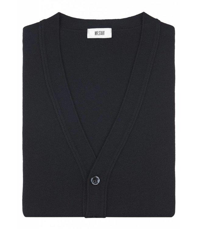 Superfine Knit Merino Wool Cardigan in Classic Black