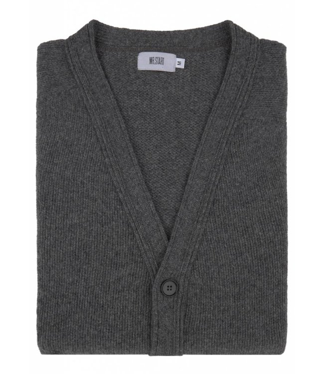 Super Soft Chunky Geelong  Lambswool Cardigan in Grey