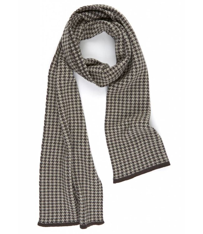 Super Soft Merino Scarf in Brown & Champagne Dogtooth