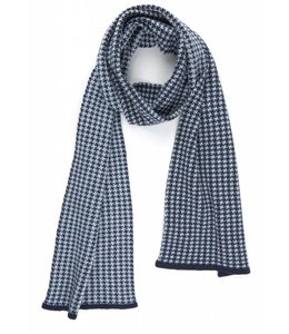 Super Soft Merino Scarf in Navy & Blue Dogtooth