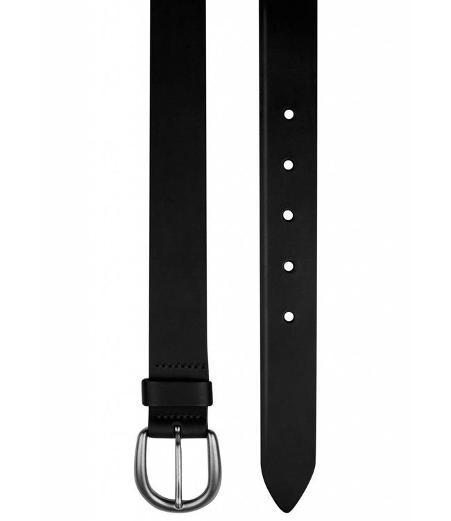 Genuine Leather Flat Edge Belt in Black