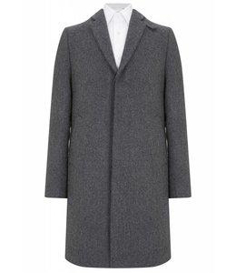 English Wool Overcoat in Herringbone Grey