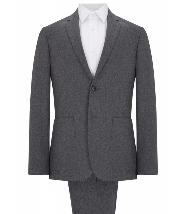 The Pitfield Brushed Wool Jacket in Grey with Patch Pockets