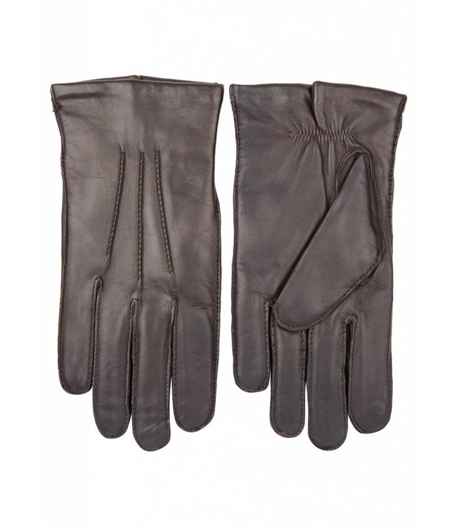 Brown Leather Gloves with Wool Lining