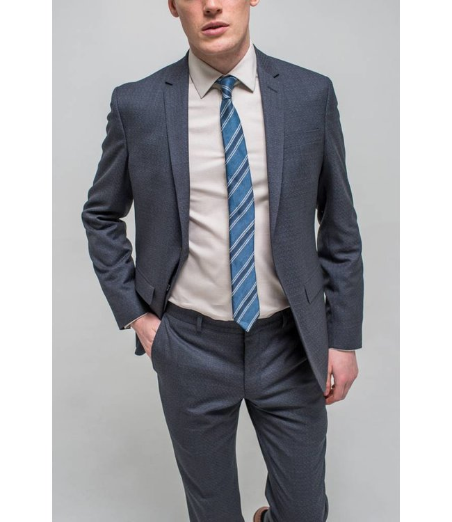 The Rivington Grey and Navy Jacquard Weave Suit