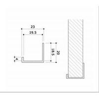 Randafwerking, alu, vlak, H=1200 mm