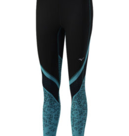 Mizuno Mizuno Womens Impulse Printed Long Tight (Black/Tile Blue)