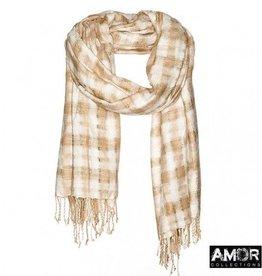 Amor AMOR Collections zijden shawl met handgeweven checks