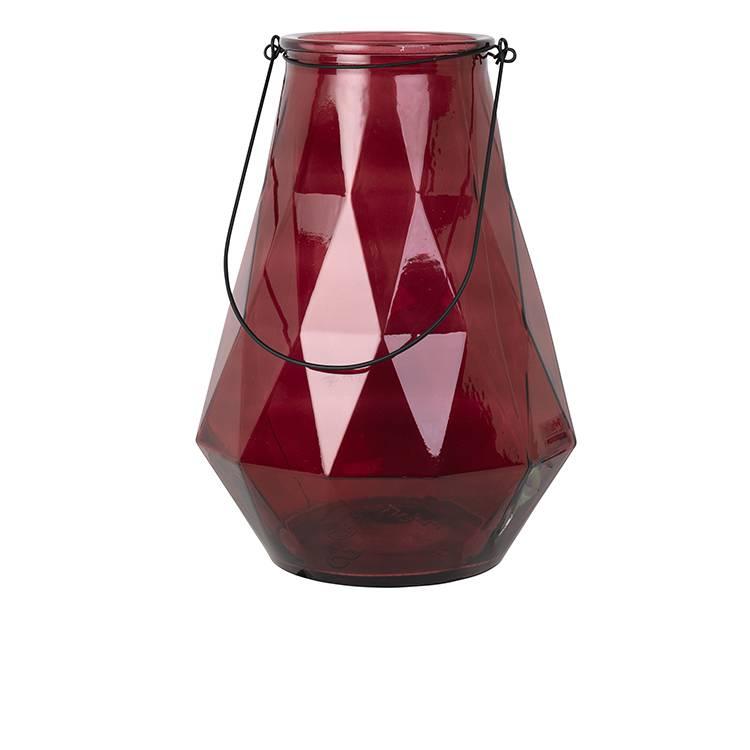 Broste Copenhagen Laterne 'Diamond' L Glass rot