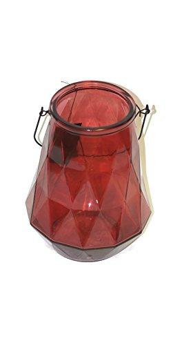 Broste Copenhagen Laterne 'Diamond' L Glass rot small