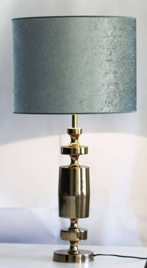 Light&Living Lampenfuss MERLIJN Rotgold / Lampenschirm Zylinder LIZARD velvet ocean