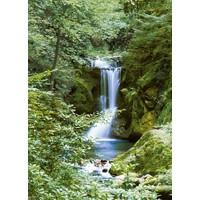 Wasserfall im Frühjahr - Fototapete 4-teilig 183 x 254 cm