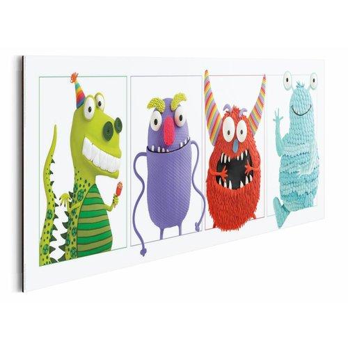 Wandbild 4 Monster in Reihe