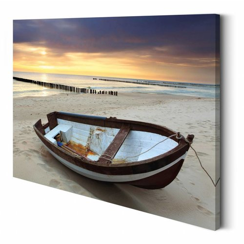 Wandbild Boot am Strand
