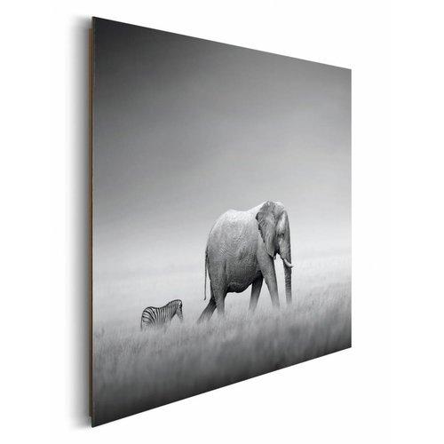 Wandbild Elefant und Zebra