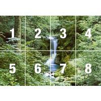 Wasserfall im Frühjahr  - Fototapete 8-teilig 366 x 254 cm