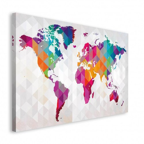 Wandbild Weltkarte Polygonen