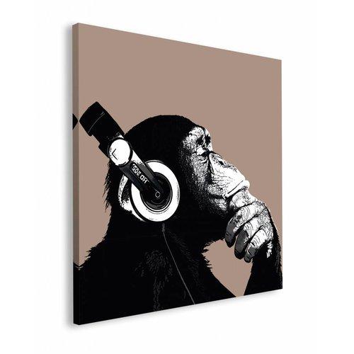 Wandbild Schimpanse Kopfhörer