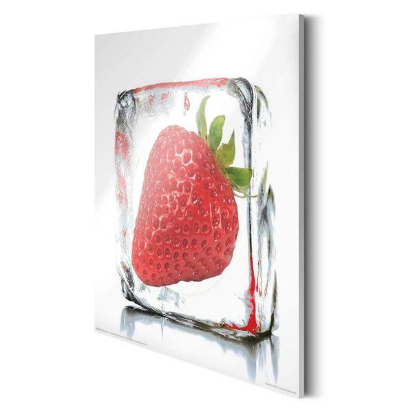 Erbeere im Eisblock  - Deco Glass 30 x 30 cm