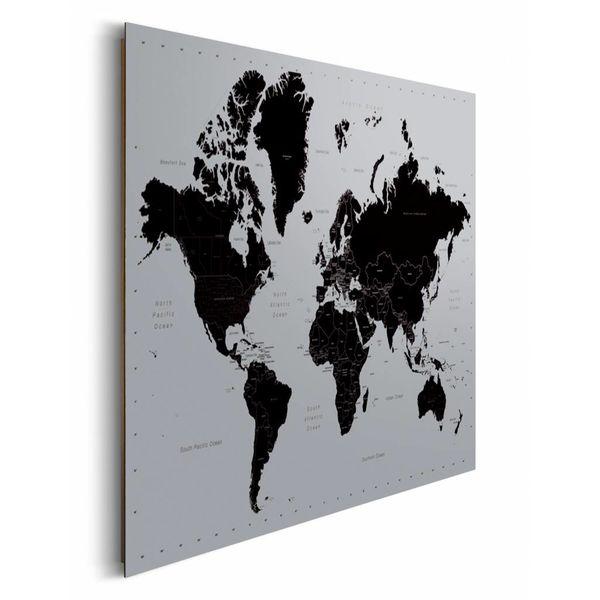 Weltkarte  Schwarz & silber - Deco Panel 90 x 60 cm